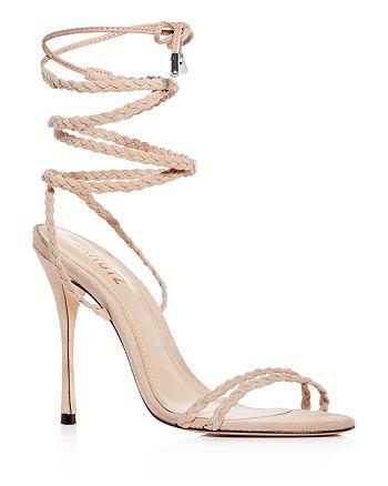 SCHUTZ Women's Lany Suede Ankle Tie High-Heel Sandals