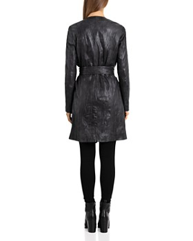 BAGATELLE.CITY - Textured Leather Wrap Coat