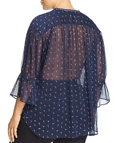 Lucky Brand Plus - Semi-Sheer Floral Print Tunic