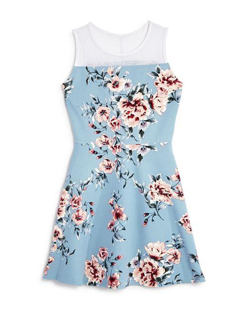 AQUA - Girls' Embroidered Mesh Dress, Big Kid - 100% Exclusive