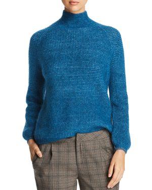 MKT STUDIO Klimia Waffle-Knit Mock Neck Sweater in Cobalt