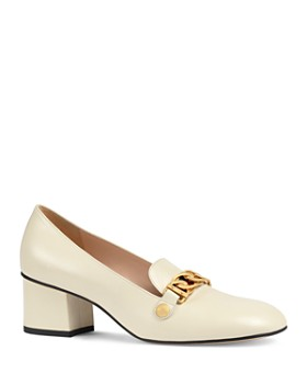 Gucci - Women's Sylvie Almond Toe Leather Mid-Heel Pumps