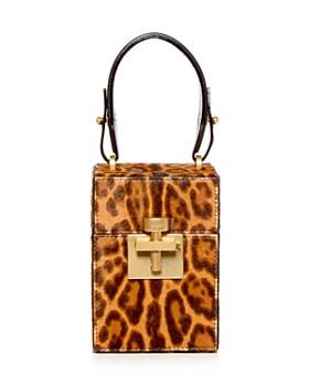 Oscar de la Renta - Alibi Leopard Print Calf Hair Top Handle Box Bag