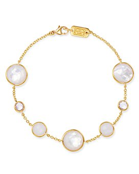 IPPOLITA - 18K Yellow Gold Lollipop Clear Quartz, White Moonstone & Clear Quartz over Mother-Of-Pearl Seven-Stone Link Bracelet