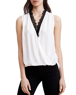 Velvet By Graham & Spencer VELVET BY GRAHAM & SPENCER LACE-TRIM CROSSOVER TOP