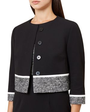 Robyn Tweed-Trim Jacket, Black/ Ivory