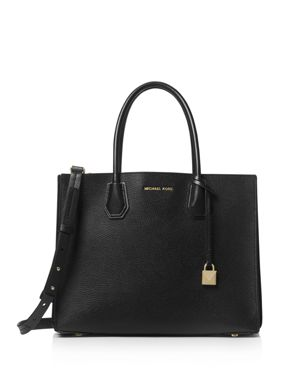 Mercer Large Leather Tote, Black/Gold