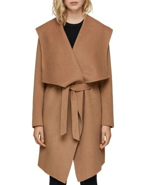 SOIA & KYO Exaggerated Shawl Collar Coat in Almond