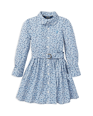 Polo Ralph Lauren Girls' Floral Shirt Dress with Belt - Little Kid