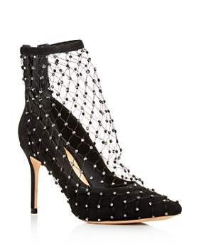 SCHUTZ - Women's Chaya Embellished Net & Suede Pointed Toe Pumps
