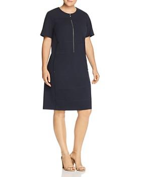 Lafayette 148 New York Plus - Demi Partial-Zip Paneled Dress