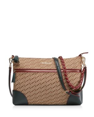 MZ WALLACE Crosby Medium Crossbody Bag - Brown in Ivy Logo Jacquard