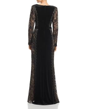 Tadashi Shoji - Velvet Lace-Sleeve Gown