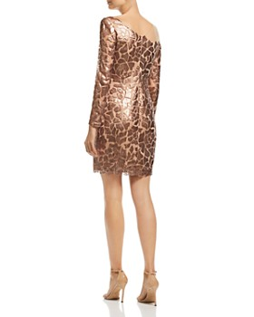 Tadashi Shoji - Asymmetric Long-Sleeve Sequined Dress