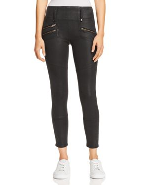 High Rise Moto Zip Skinny Jeans In Black Wax