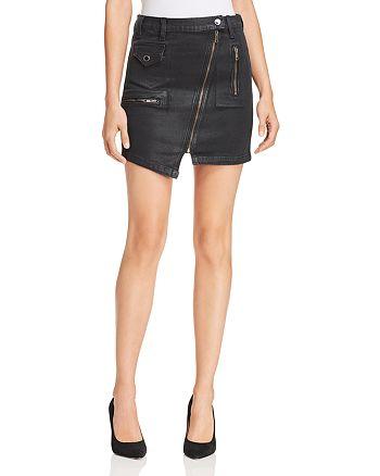 Hudson - High Rise Moto Waxed Denim Skirt
