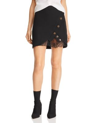 Lace Trimmed Faux Wrap Mini Skirt by Joa