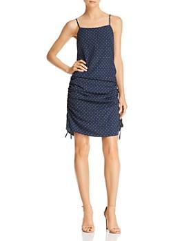 JOA - Ruched Polka Dot-Print Dress