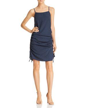 Joa Ruched Polka Dot-Print Dress