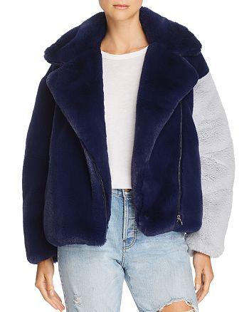 Heurueh - Color-Block Faux-Fur Moto Jacket - 100% Exclusive