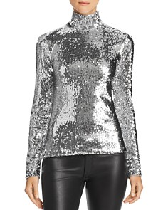 MILLY - Sequined Mock Neck Top