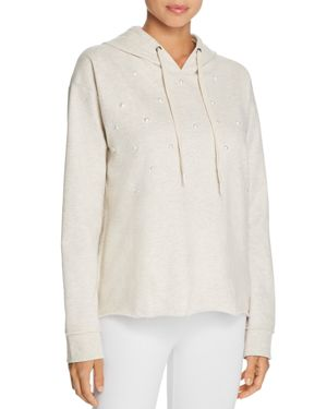 Lazy Days Beaded Front Long Sleeve Hoodie, Oatmeal