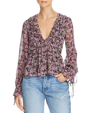 LOST AND WANDER Lost And Wander Lovestoned Floral-Print Top in Purple