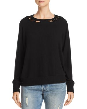 LNA Twin Lace-Up Sweater in Black