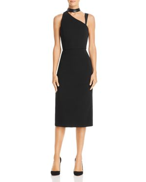 Alice + Olivia Jona Leather-Trim Asymmetric Sheath Dress