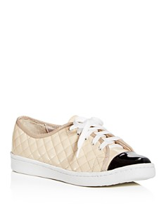 Paul Mayer - Women's Samba Quilted Patent Leather Lace Up Sneakers