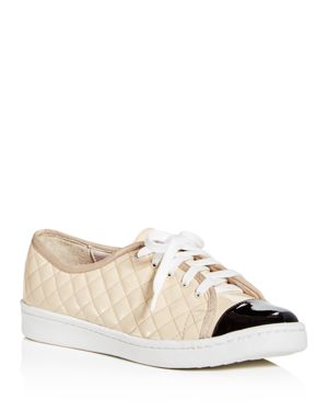 PAUL MAYER Women'S Samba Quilted Patent Leather Lace Up Sneakers in Black/Beige