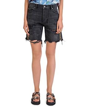The Kooples - Jewel-Trim Distressed Denim Shorts in Washed Black