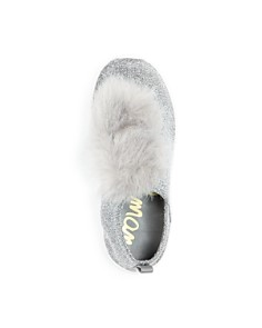Sam Edelman - Girls' Ariana Pom-Pom Glitter Knit Slip-On Sneakers - Toddler, Little Kid, Big Kid
