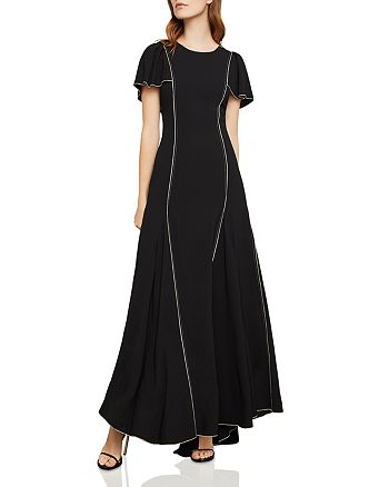 BCBGMAXAZRIA - Piped Flutter-Sleeve Gown