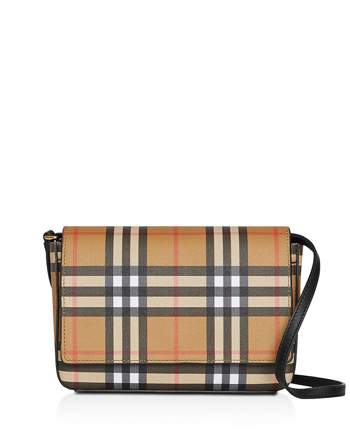 Burberry - Vintage Check & Leather Wallet with Detachable Strap