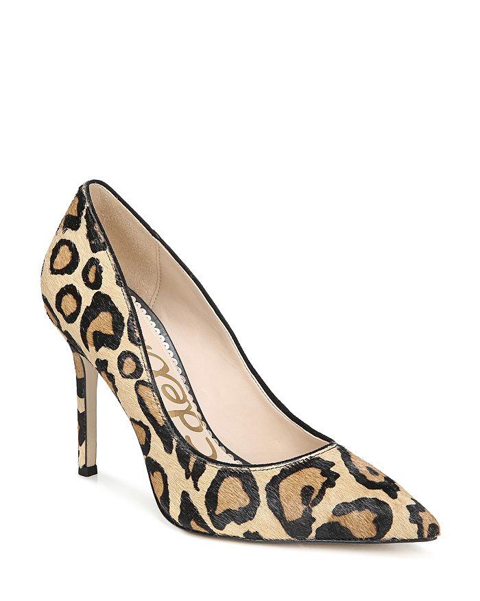 Sam Edelman - Women's Hazel Pointed Toe Leopard-Print Calf Hair High-Heel Pumps