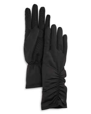 U/R Ruched Faux Fur-Lined Tech Gloves in Black