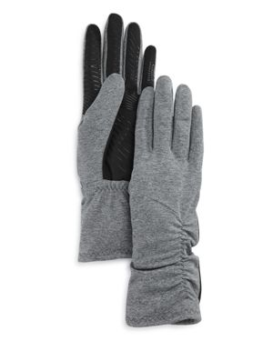 U/R Ruched Faux Fur-Lined Tech Gloves in Gray