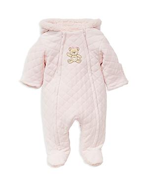 Little Me Girls FauxFur Hooded Teddy Bear Footie Jacket  Baby