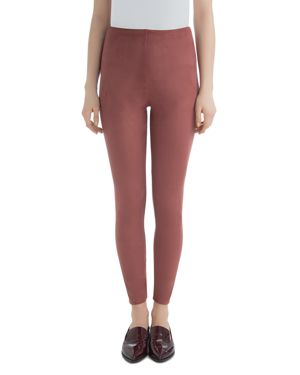LYSSÉ Faux Suede High-Rise Leggings in Red Clay