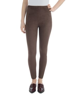 LYSSÉ Faux Suede High-Rise Leggings in Bourbon