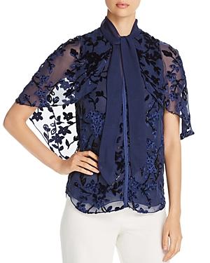 Elie Tahari Rory Floral Velvet Blouse