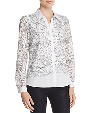 Karl Lagerfeld Floral-Embroidered Lace-Overlay Blouse