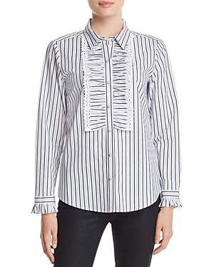 Karl Lagerfeld Ruffle-Trimmed Striped Blouse