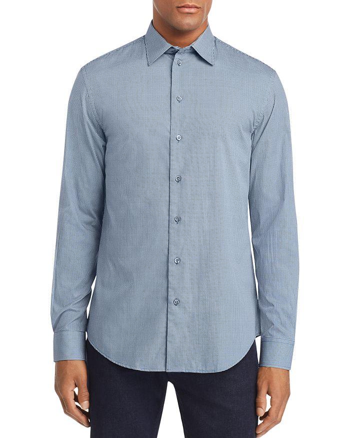 Emporio Armani Blue Multi-check Sport Shirt In Bordeaux