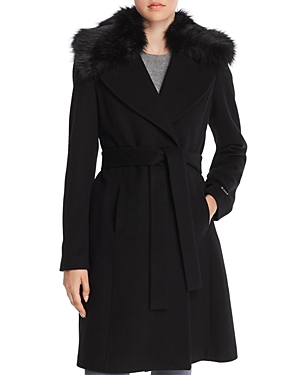 T Tahari Fiona Faux Fur Trim Wrap Coat