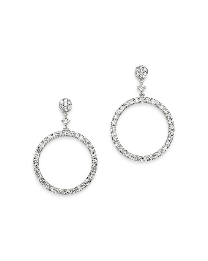Bloomingdale's Diamond Round Geometric Drop Earrings In 14k White Gold, 1.0 Ct. T.w. - 100% Exclusive