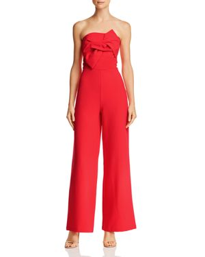 DO AND BE Do And Be Strapless Bow-Front Jumpsuit in Red