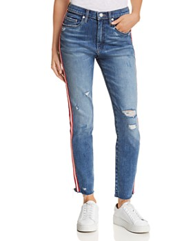 BLANKNYC - Distressed Side-Stripe Jeans in Now or Never
