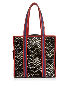 Sophie Cano - Printed Shearling & Leather Tote